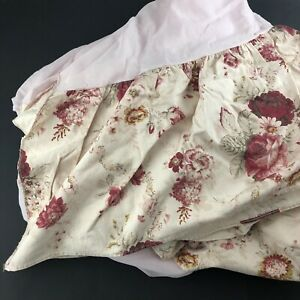 """Waverly Garden Room Rose Bed Skirt Dust Ruffle Cal King 14.5"""" Drop Pre-owned"""