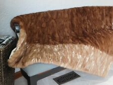 GENUINE REAL MINK FUR THROW BLANKET QUILT CARAMEL BROWN IVORY WHITE COAT