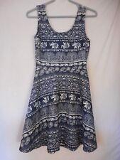 Blue white Elephant Indian Print Size M sleeveless Dress Derek Heart
