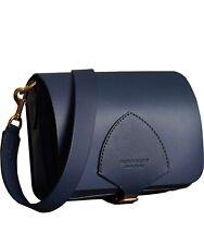 Authentic Burberry Leather satchel Crossbody Bag Navy