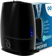 Comfort Cool Mist Humidifier for Bedroom with Essential Oil Tray, 6L, Black