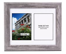 CreativePF 2 Opening Multi 5x7 Driftwood Picture Frame 10x12 White Collage Mat