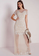 Missguided: Premium Embellished Cap Sleeve Mesh Maxi Dress Nude, Size 8 NWT