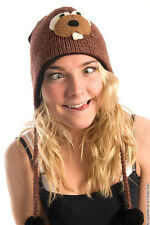 Delux Beaver Brown Winter Warm Wool Pilot Animal Hat Knitwits Knit Pilot Hat NWT