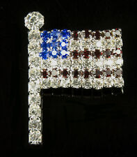 AMERICAN FLAG CRYSTAL PIN - PATRIOTIC JEWELRY PIN - 4th of July