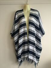 FREE SIZE up to 24 Blue striped fringed hippy boho loose jacket beach cover up