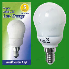 1x 5W Low Energy Power Saving CFL Super Mini GLS Light Bulb, SES, E14 Lamp