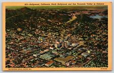 Aerial Hollywood California North San Fernando Valley, California Linen Postcard