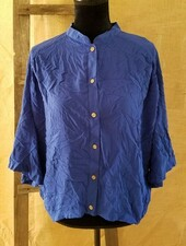 Naked Zebra women Medium blue open strappy back button down shirt asymmetrical