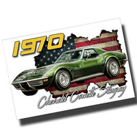 1970 Green Chevrolet Corvette 8x12 Inch Aluminum Sign
