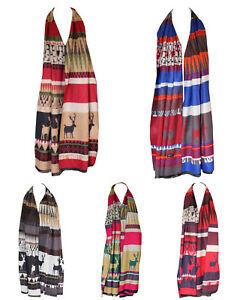 Festive Season Print Christmas Reindeer Blanket Scarf Stole Shawl Wrap Scarves