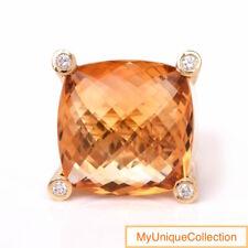 Exquisite Denoir Diamond Citrine 18K Yellow Gold Large Cocktail Ring