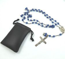 Vintage H.F.B. Sterling Silver Dark Blue Faceted Bead Catholic Rosary Necklace