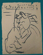DIBUJO VINTAGE REJONEADOR  PICASSIANO PICASSO TINTA & PAPEL. DRAWING INK PAPER