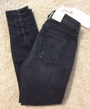 CURRENT/ ELLIOTT THE STILETTO W/SLIT, BLACK  W-EYELETS JEANS SZ 24, NWT, $288