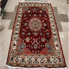 (6 x 4)' Mid Night Red Love Flowers Area Rug Hand Knotted Wool Silk Carpet