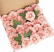LuLuHouse 25pcs Artificial Flower Foam Rose Peach Pink Real Touch Roses Flower H
