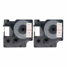 """2pk Red on White Label Tape Compatible for DYMO 53715 D1 24mm 1"""""""