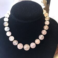 "14"" Pretty Rose Quartz Bead Necklace W/ Sterling Clasp"