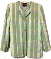 Vintage Sasson Womens Green Plaid Rayon 4-Button Blazer/Jacket Size 12