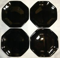 Vintage 4 Black Glass Arcoroc Octime France Salad Dessert Bread Plates Octagon