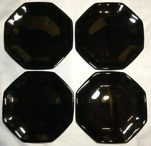 Vintage 4 Black Glass Arcoroc Octime France Salad Dessert Bread Plates Octagon