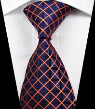 New Classic Checks Dark Blue Gold JACQUARD WOVEN 100% Silk Men's Tie Necktie