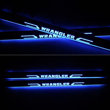 2X LED Moving Welcome Light Door Entry Guards Sill Scuff Plate For Jeep Wrangler