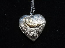 ANTIQUE SILVER ANGEL VICTORIAN HEART LOCKET