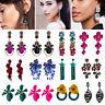 Women Fashion Bohemian Crystal Flower Long Tassels Earrings Dangle Drop Jewelry