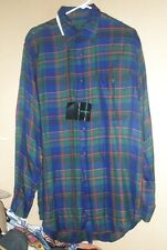 Vintage N.O.S. W/ Tags 1980's Rayon Flannel Shirt By Vito Rufolo / Italy - M !