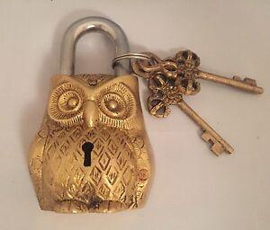Owl Head LOCK Big Padlock brass keys Golden antique look Owl Pad Vintage lion