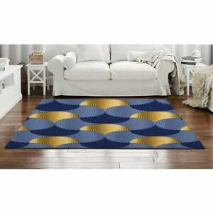 Blue And Gold Pattern Rug, Navy Blue Area Rug, Navy Blue And Gold Rugs, Swirl Ru