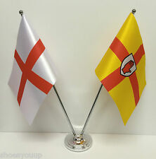 England & Ulster Northen Ireland Flags Chrome and Satin Table Desk Flag Set