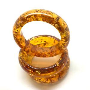 Bangle seamless cuff bracelet Natural Baltic amber 1pc