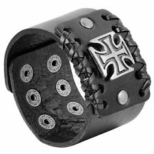 Men's Retro Punk Rock Wide Leather Strap Bracelet Adjustable Cross Cuff Bangle