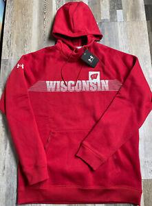 New Under Armour Wisconsin Badgers Campus Fleece Hoodie SZ MEDIUM NWT $70