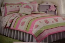 New Kids Expression Pink Green Ladybug Twin Quilt Set 100% cotton w embroidery