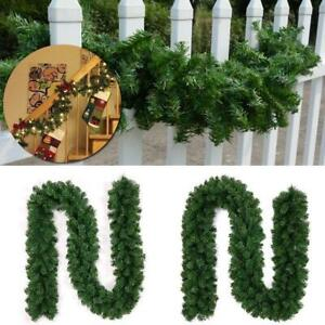 9ft Green Artificial Christmas Garland Wreath Xmas Tree Fireplace Decorations