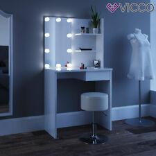 Vicco Coiffeuse table de maquillage Dekos avec miroir Blanc + tabouret+LED