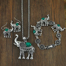 Women  3Pcs/Set Elephant Pendants Kallaite Jewelry Earrings Bracelet Necklace