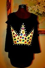 NEW NICKI MINAJ MULTI-CLR RHINESTONE EMBELLISHED/GOLD CROWN COLD SHOULD TOP SZ M