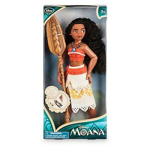 "MOANA Classic Doll Toy Action Figure w/ Paddle & Necklace 11"" Disney Store Auth"