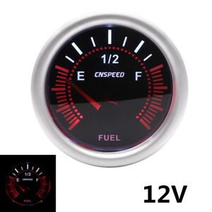 2″ 52mm LED Metal& ABS Car Pointer Fuel Level Gauge Meter With Sensor Smoke Face