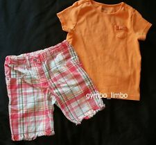 Gymboree Tropical Garden Girls 5 Orange Pocket TEE Shirt Plaid SHORTS OUTFIT