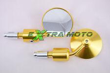 Coppia specchietti ergal CNC tondi da manubrio alluminio cafe racer ORO 025O