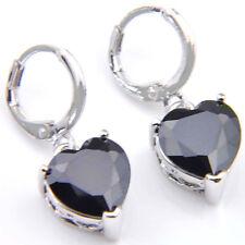 10 MM Black Onyx Gemstone Dangle Hook Earrings Love Heart Jewelry Gift For Woman