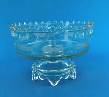 Antique King & Son Glass Co. Compote BATESVILLE crystal w/ etching, c.1875