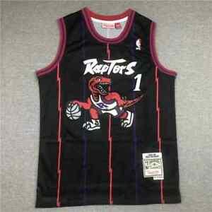 New Toronto Raptors #1 Tracy McGrady Retro Embroidery Men's Black Jersey S-XXL