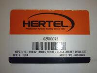 """HERTEL 15pc 1/16 - 1/2"""" by 32nds, 118deg, Black Jobber Drill Set, 02500072"""